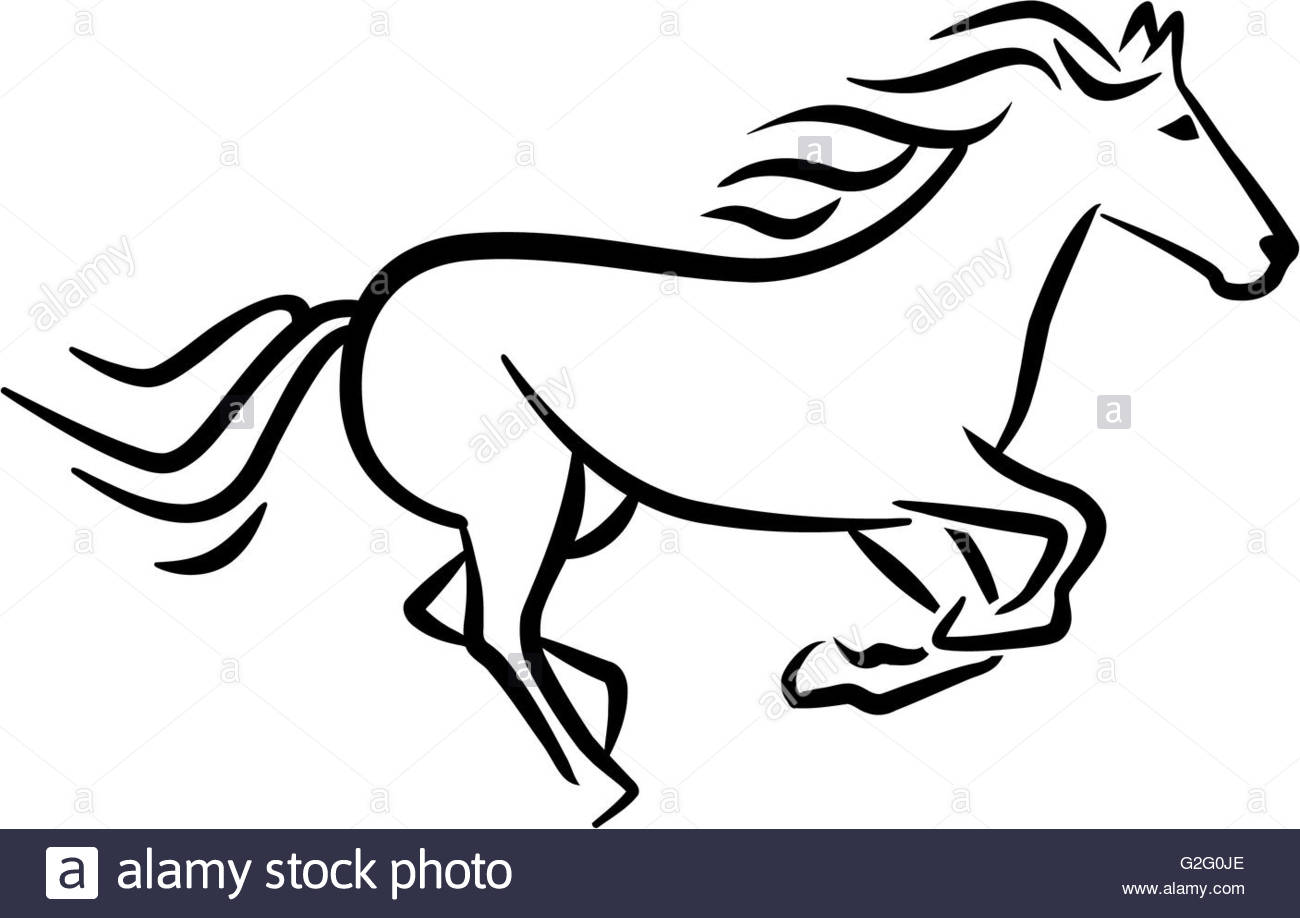 1300x918 Racing Horse Sketch Style Stock Photo 104843270