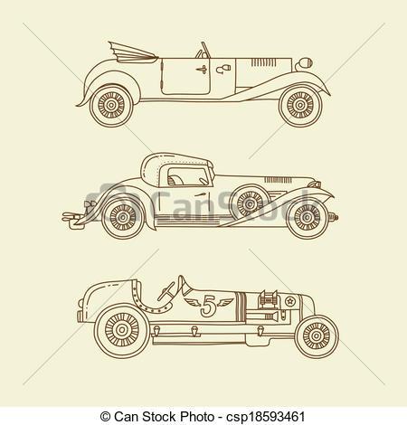 450x470 Vector Vintage Sport Racing Cars. Vector Sport Vintage Clip Art