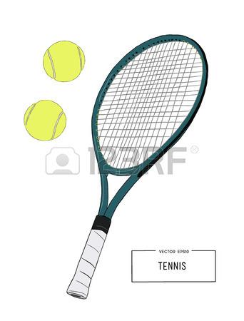342x450 Badminton Racket And Shuttlecocks. Hand Draw Sketch Vector