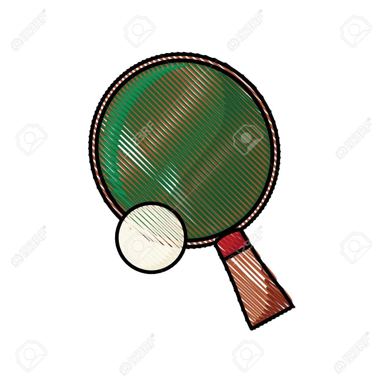 1300x1300 Drawing Racket And Ball Ping Pong Play Vector Illustration Royalty