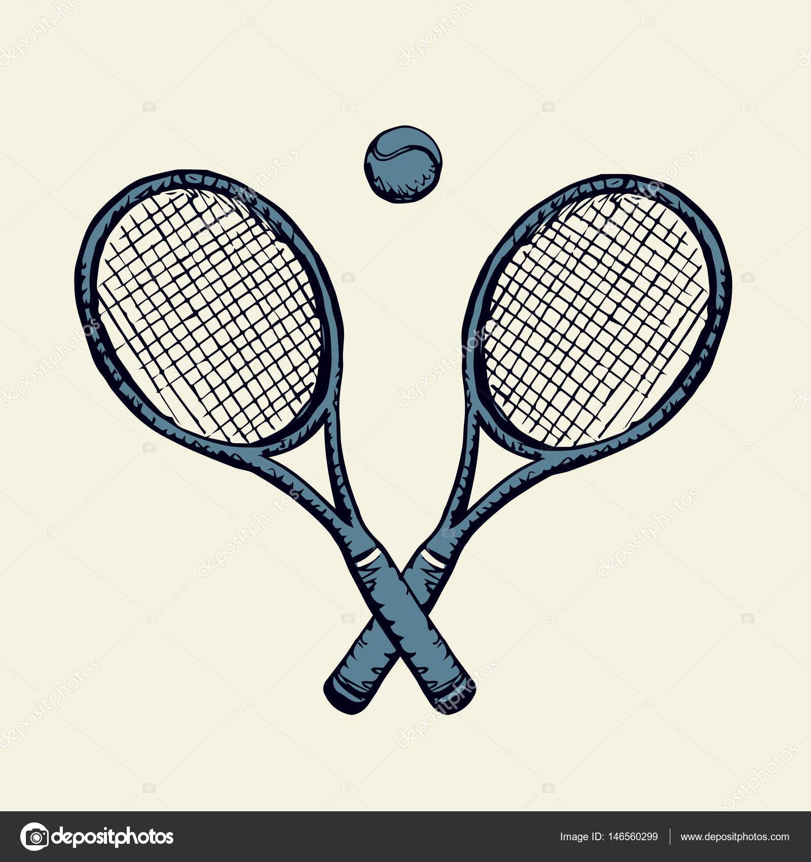 1600x1700 Tennis Racket And Ball. Vector Drawing Stock Vector Marinka