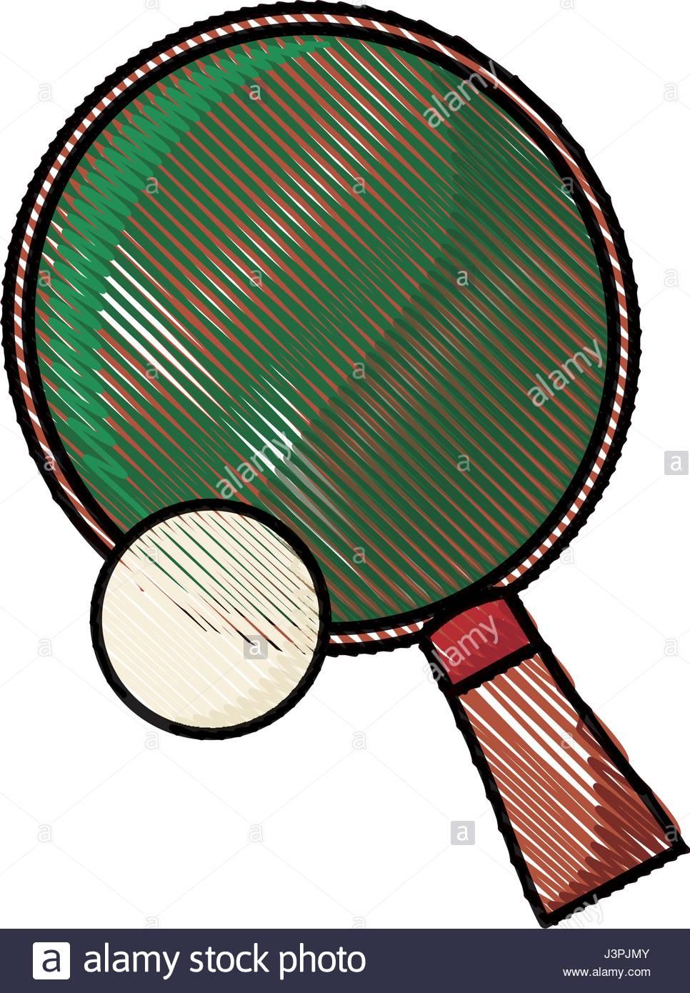 966x1390 Drawing Racket And Ball Ping Pong Play Stock Vector Art