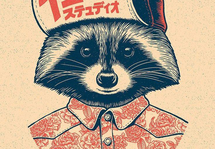 736x510 Raccoon Drawing Illustration Textile Design