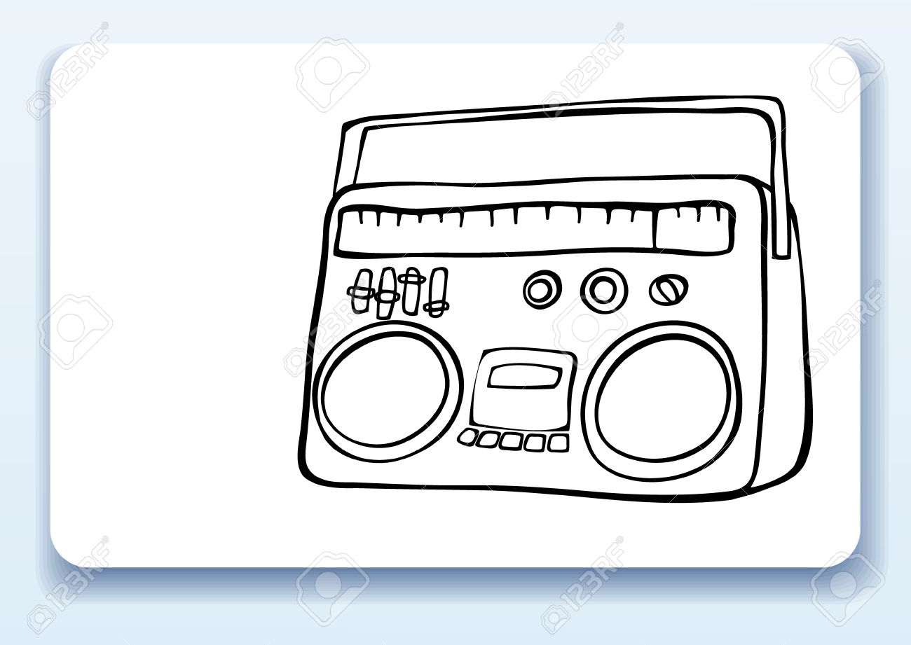 1300x921 Business Card With Drawing Of A Retro Radio Royalty Free Cliparts