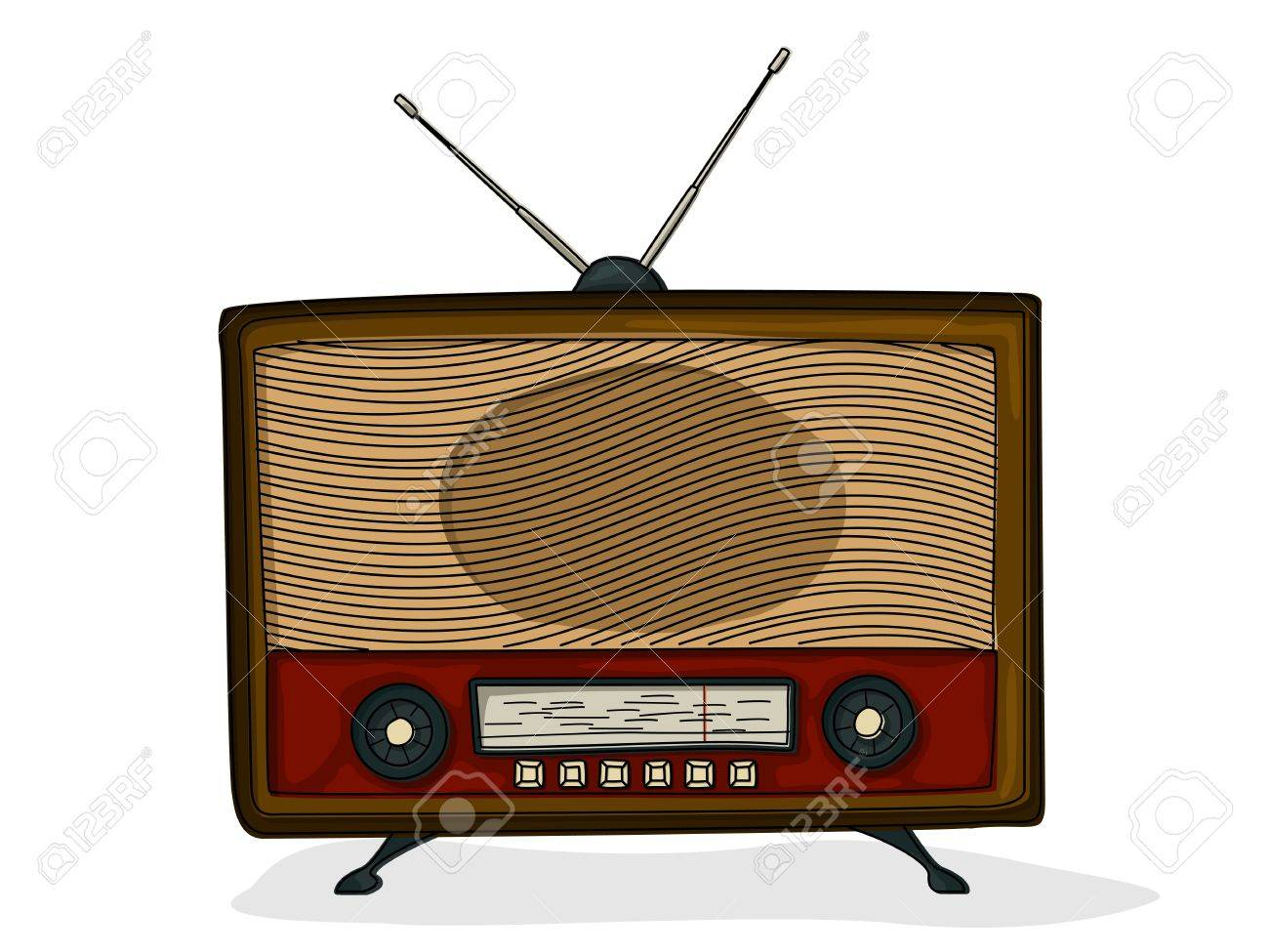 1300x975 Retro Style Cartoon Radio Drawing Over White Background Royalty