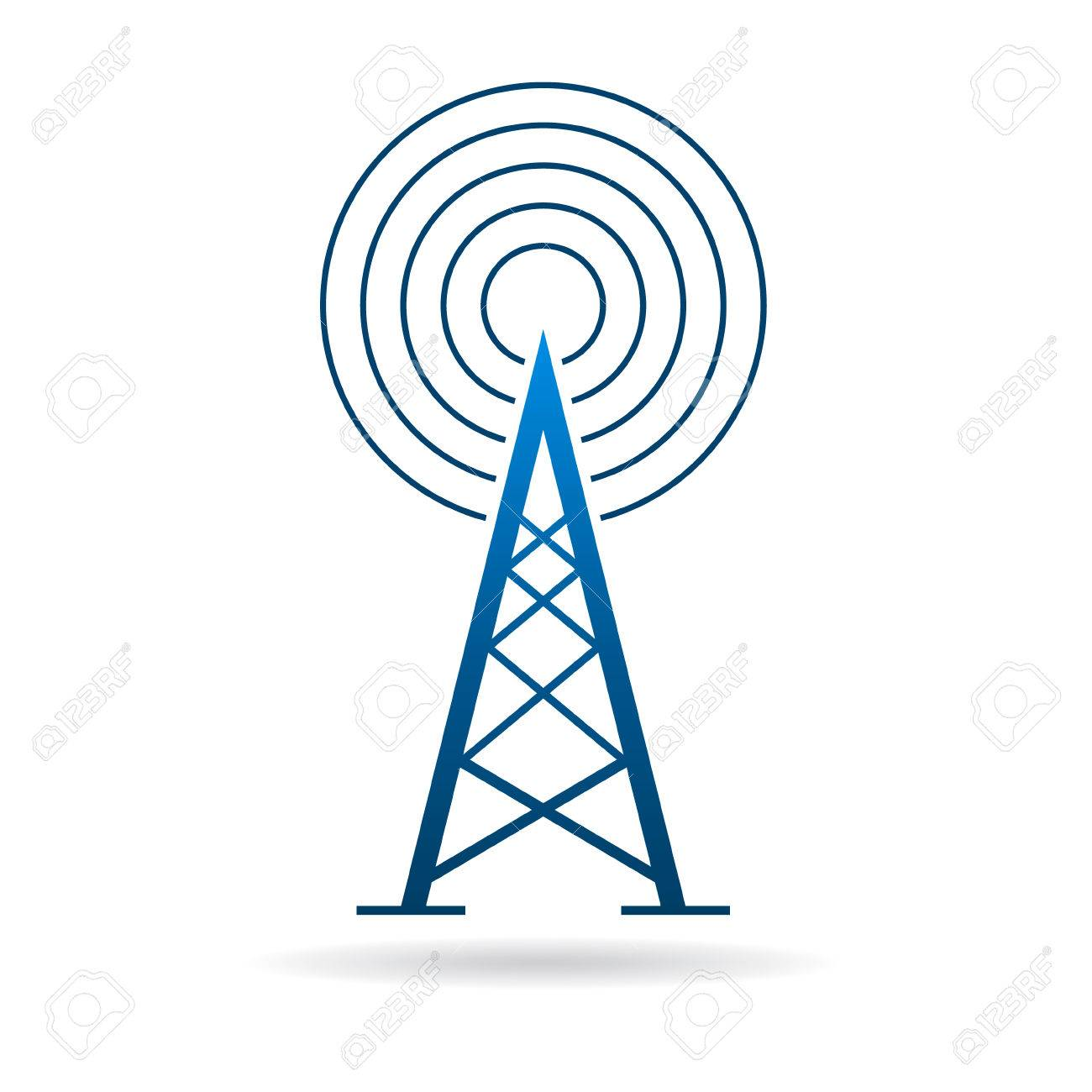 1300x1300 Antenna Tower With Waves Graphic Design Illustration Royalty Free