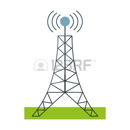 450x450 Drawing Radio Antenna Transmission Mast Communication Vector