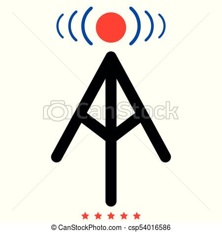 450x470 Radio Tower Icon Illustration Color Fill Style. Radio Tower