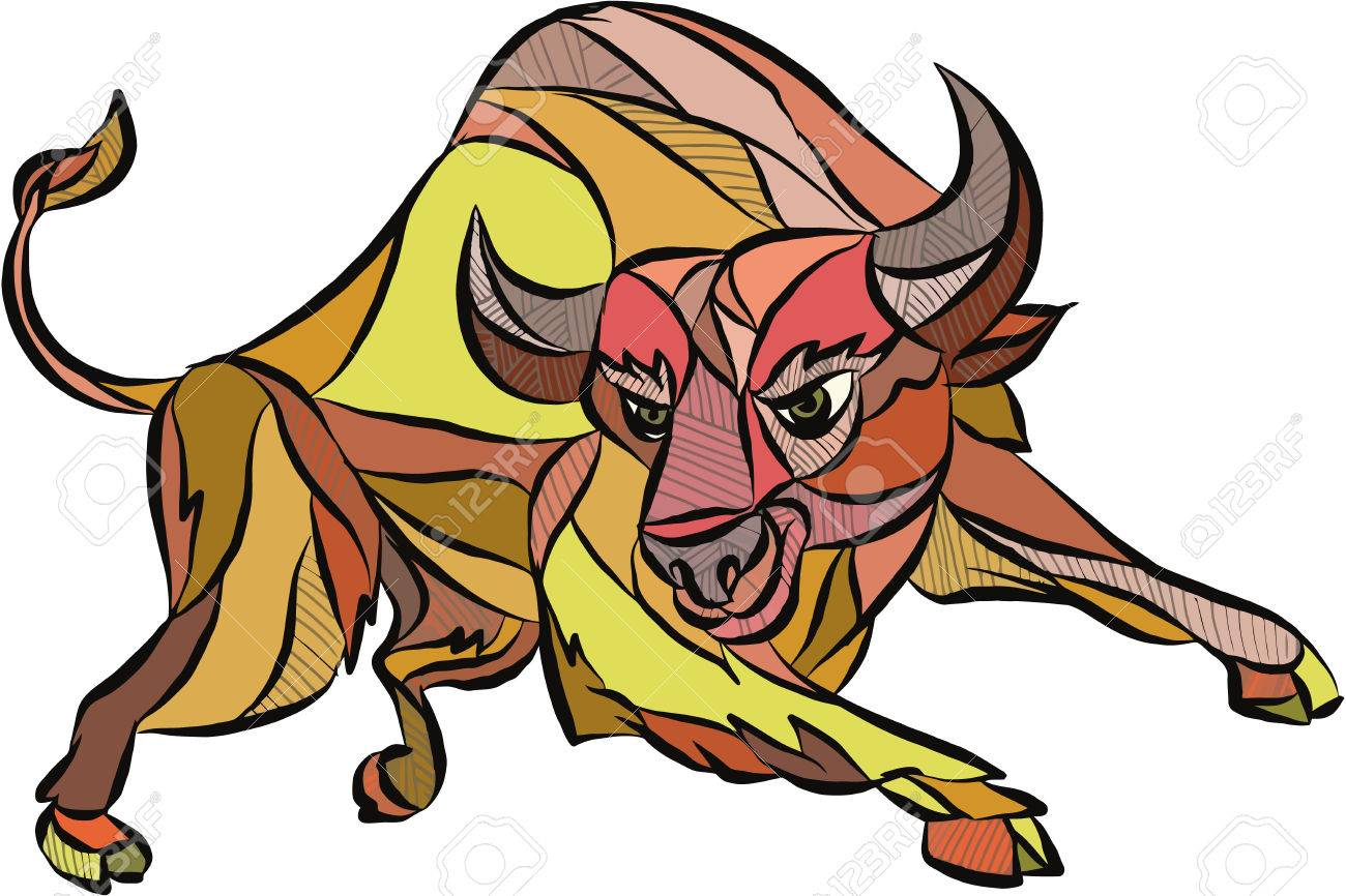 1300x866 Drawing Sketch Style Illustration Of An Angry Raging Bull Facing