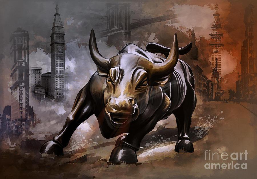 900x629 Raging Bull Painting By Andrzej Szczerski