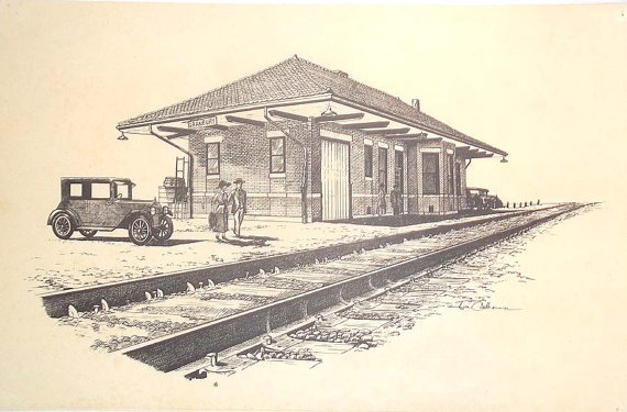 570x375 Vintage Print Of Pen Andk Drawing Of The Railroad Depot