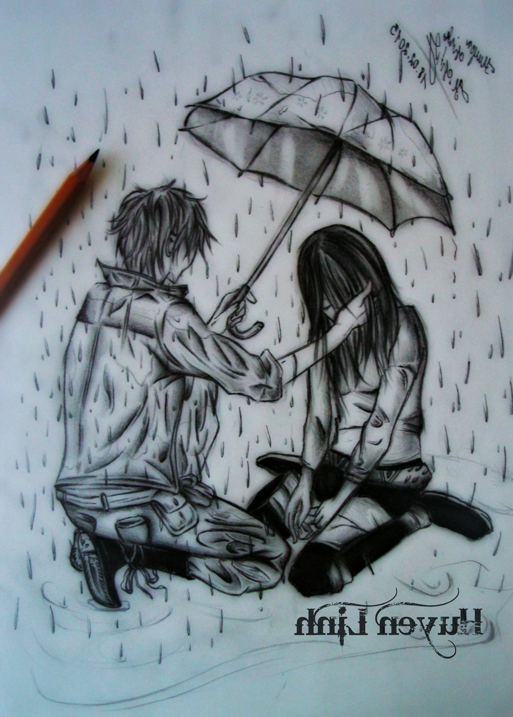 1024x1431 Girl Crying In The Rain Alone Drawing Sad Girl Alone Crying Sketch