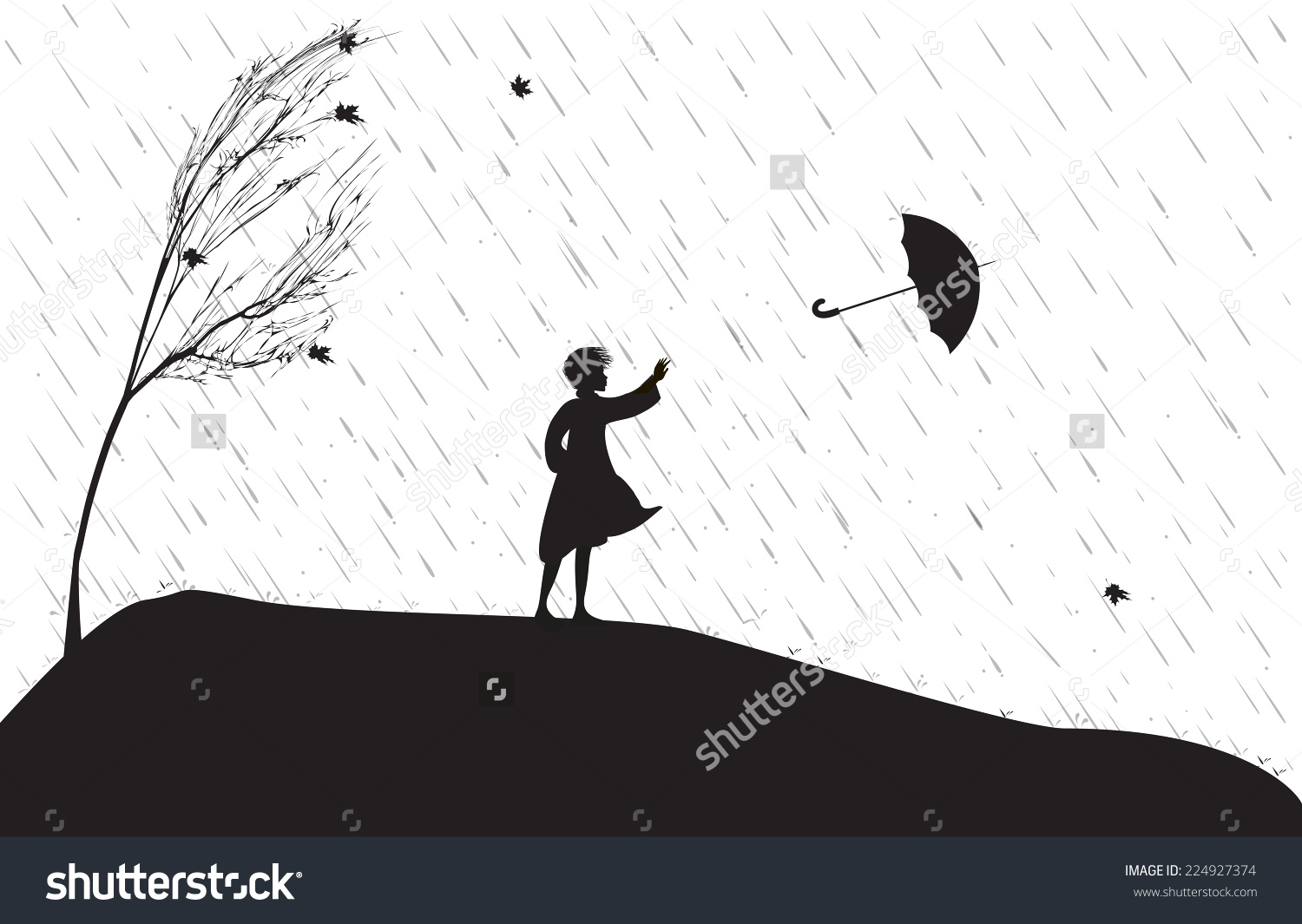 1500x1065 Drawing Of A Girl In The Rain With An Umbrella