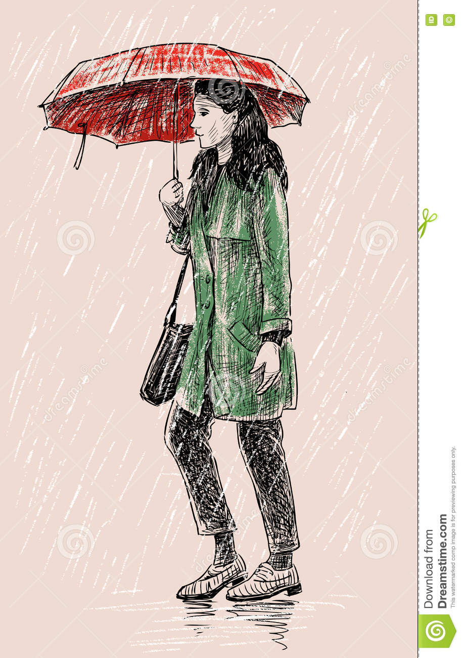 916x1300 Drawing Of A Girl In The Rain With An Umbrella Tutorial 3 How