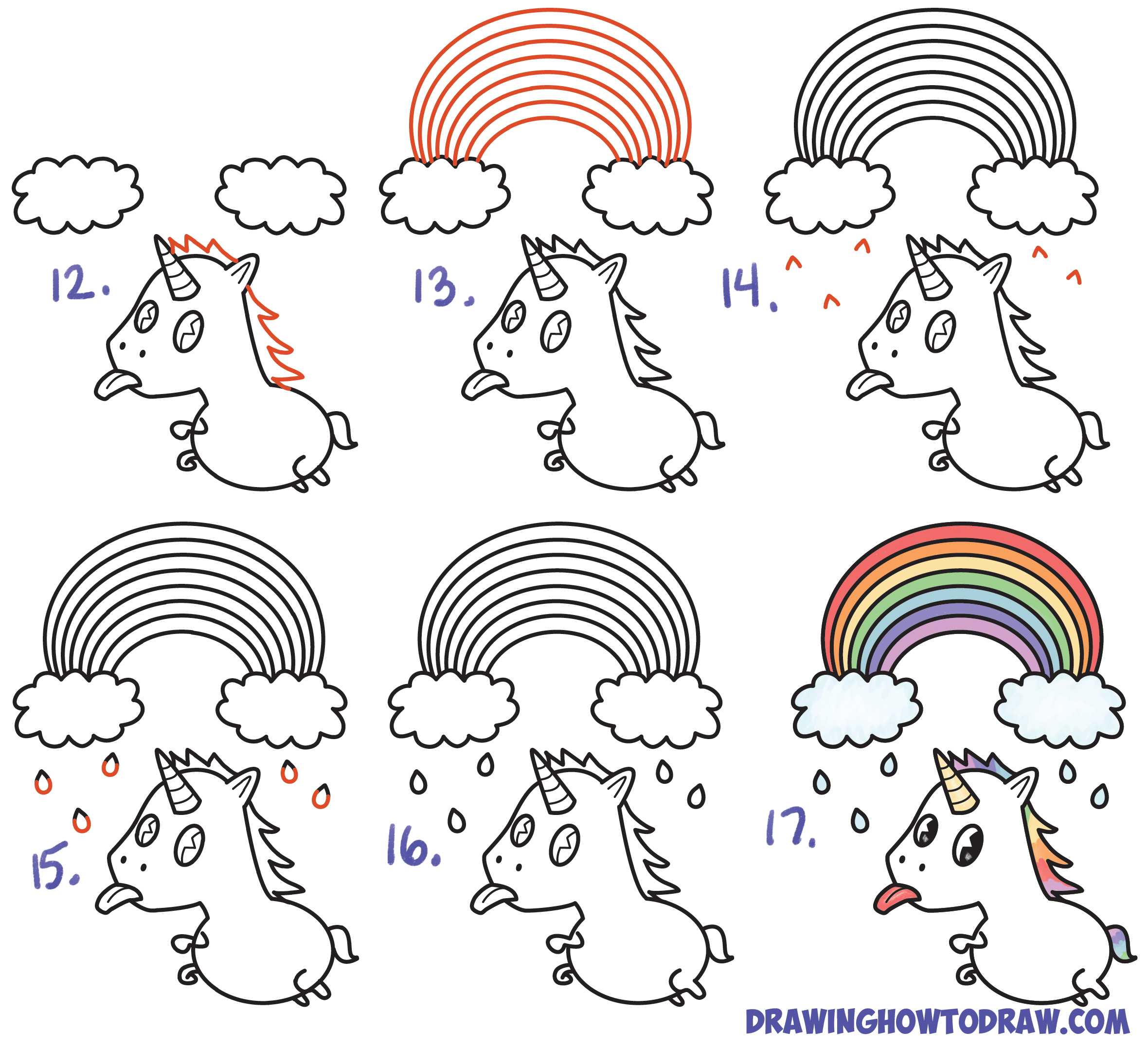 2360x2156 How To Draw A Cute Kawaii Unicorn With Tongue Out Under Rainbow