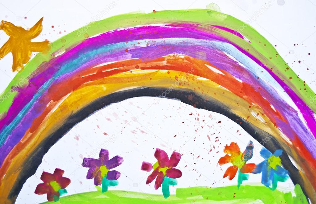 1023x660 Kid's Drawing With Flowers And Colorful Rainbow Stock Photo