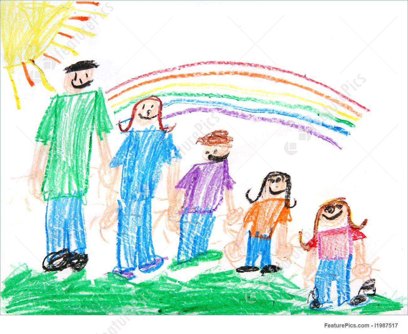 1300x1065 People Kids Primitive Crayon Drawing Of A Family