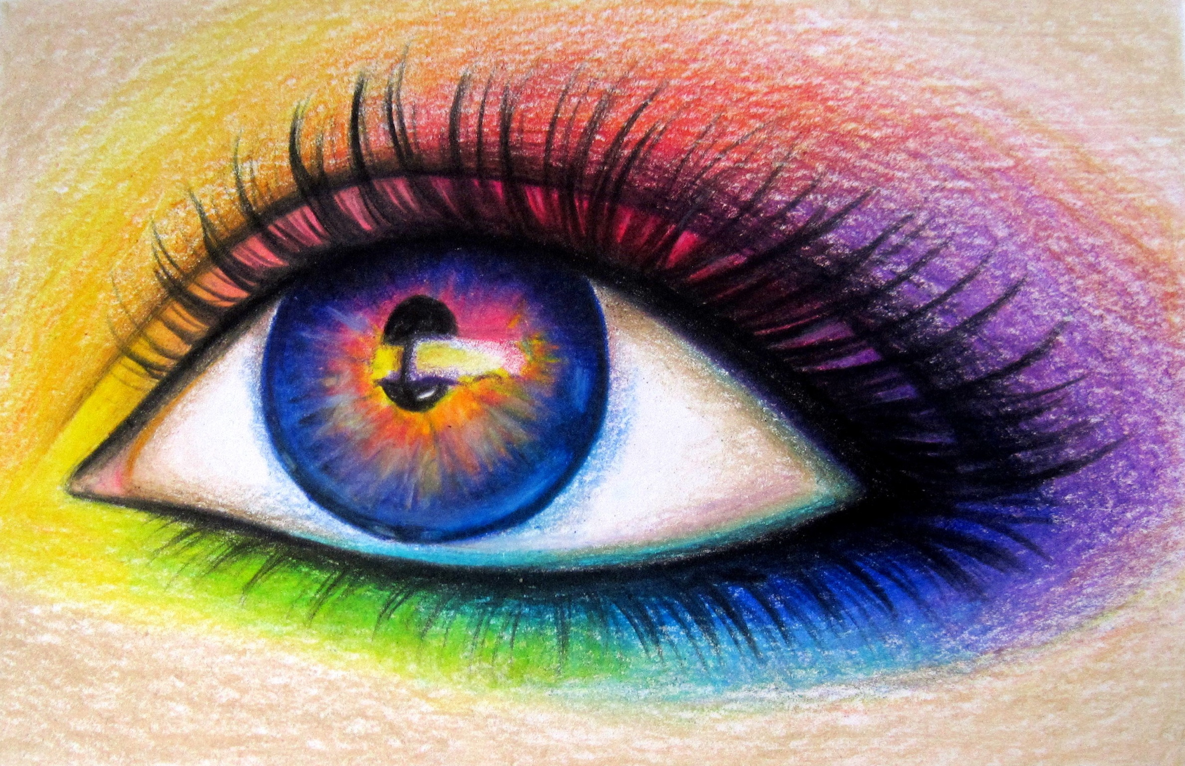 2376x1536 Rainbow Eye Drawing With Colored Pencils Kim Rose's Art
