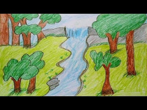 480x360 How To Draw Scenery Of Rainforest For Kids Jungle Scenery