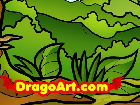 480x360 How To Draw A Jungle For Kids, Step By Step