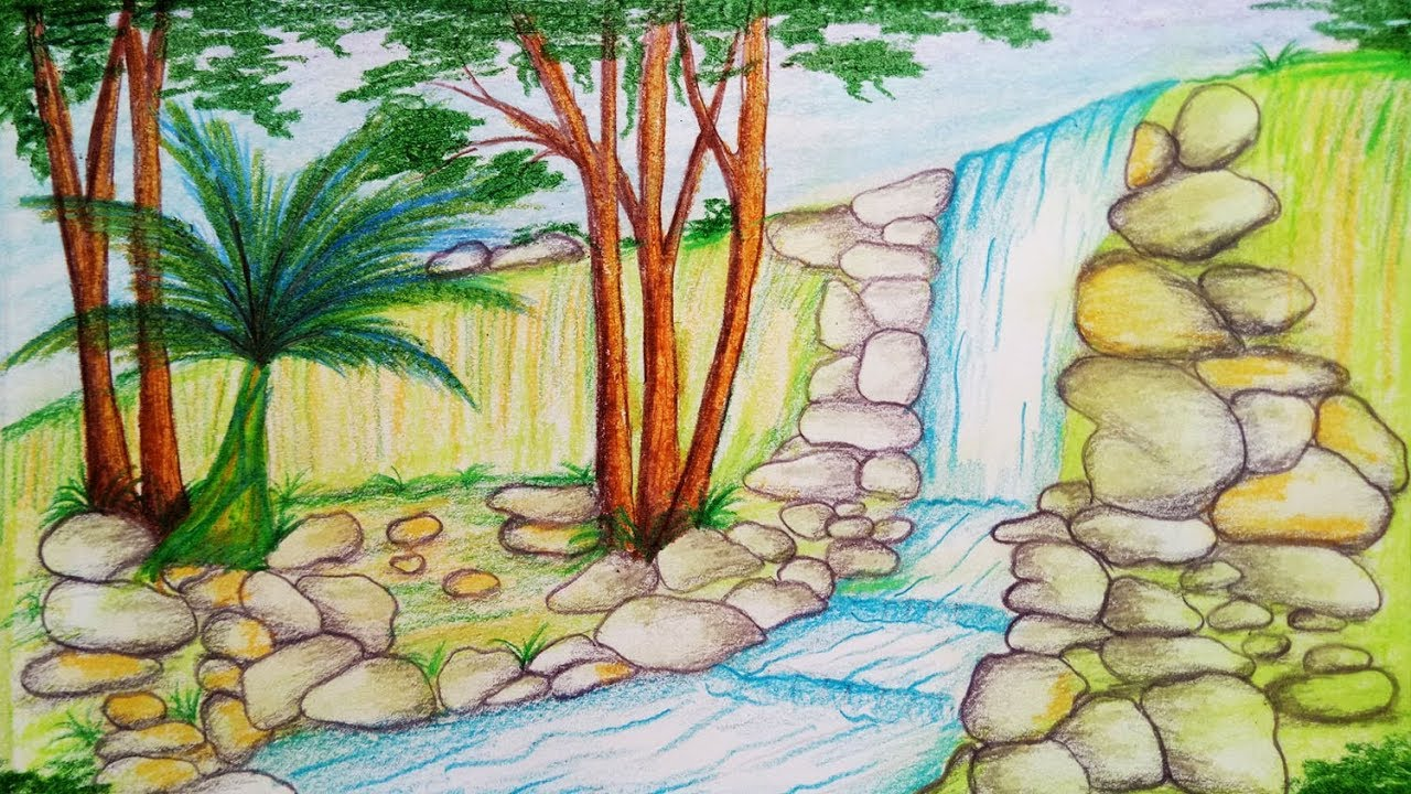 1280x720 How To Draw Scenery Of Stream Waterfall.step By Step(Easy Draw