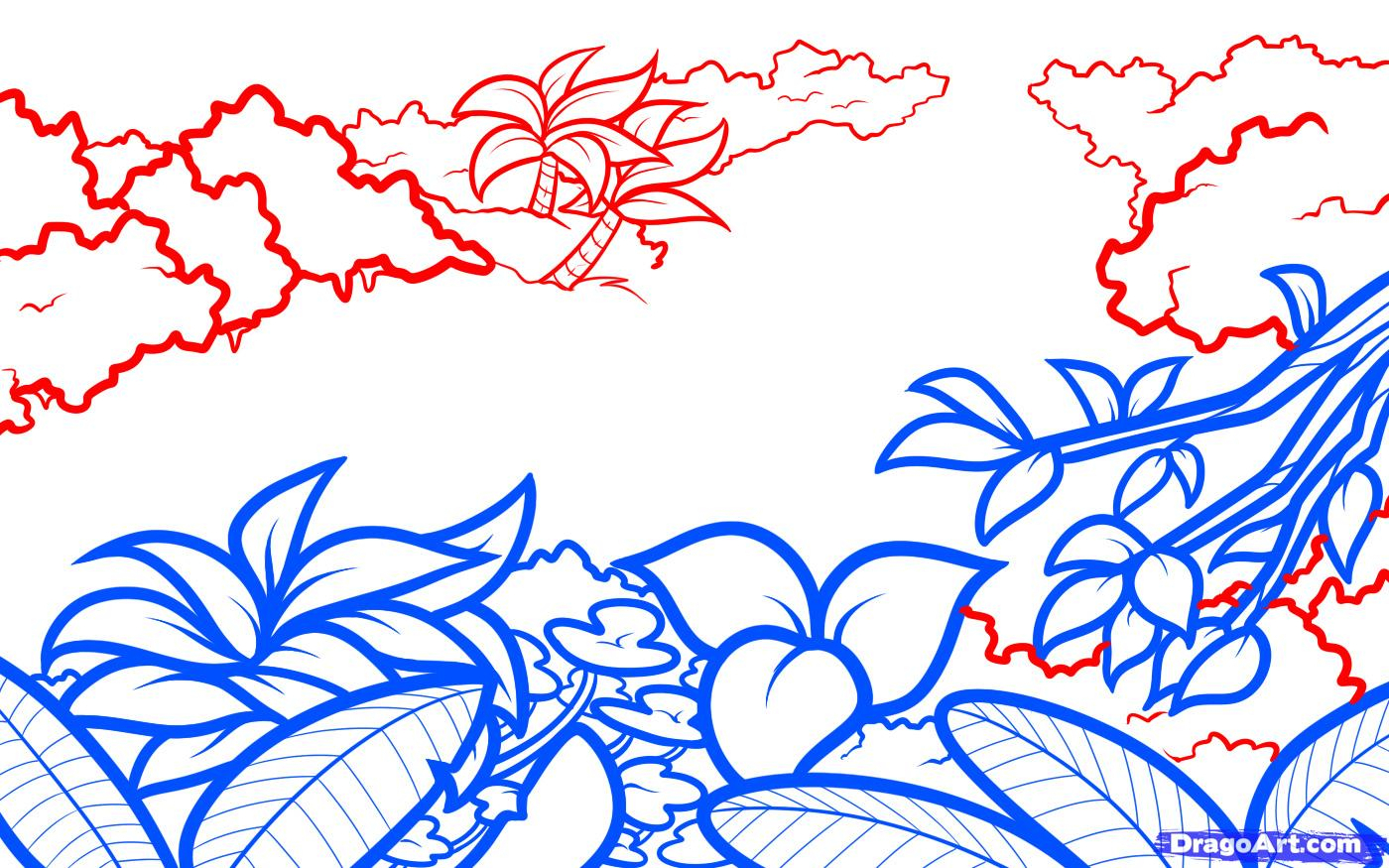1400x875 Tropical Rainforest Drawing Drawn Forest Easy Drawing