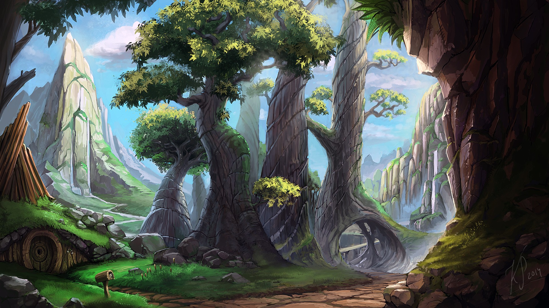 1920x1080 Wallpaper Trees, Landscape, Drawing, Painting, Forest, Digital
