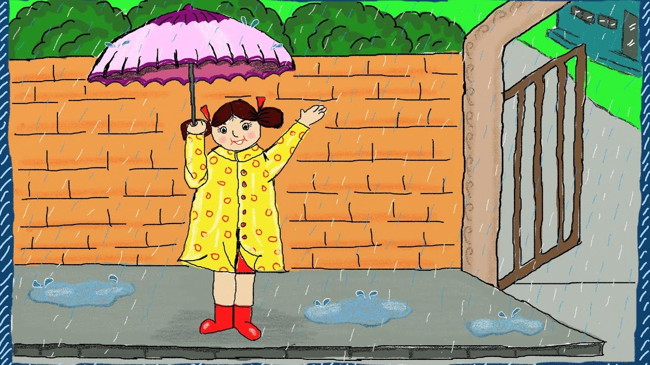 1280x720 Drawing A Simple Rainy Day How To Draw A Rainy Day Drawing