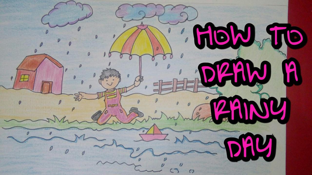 1280x720 Drawing Tutorial Drawing Of Rainy Day Rainy Season Easy