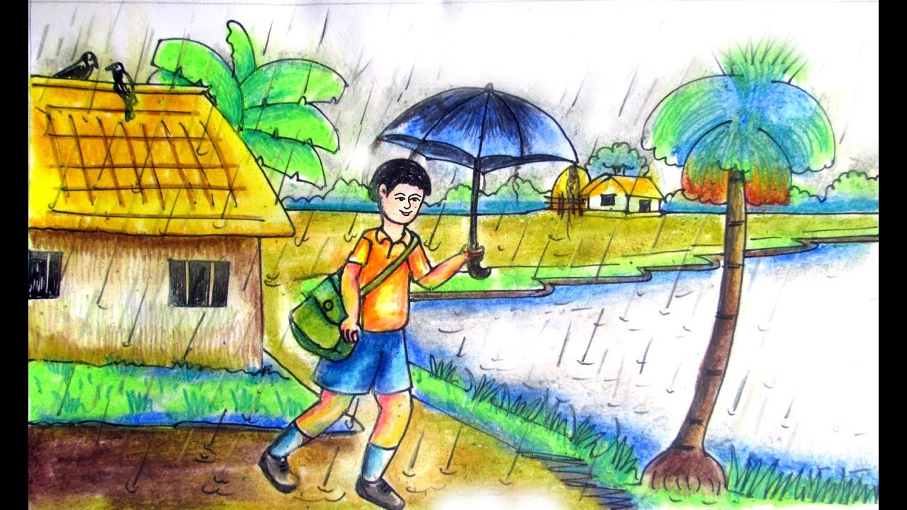 1280x720 How To Draw A Rainy Day With A Boy Step By Step By Indrajit Art
