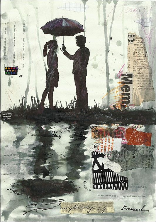 532x755 Print Art Collage Ink Drawing Sketch Rainy Day Love Painting