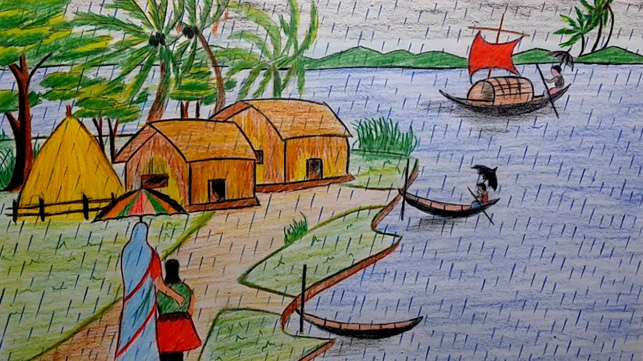 1280x720 Rainy Day Pencil Sketches For Little Kids How To Draw A Beautiful