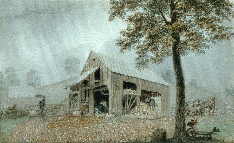 900x550 Rainstorm Cider Mill At Redding. Connecticut Drawing By George Harvey