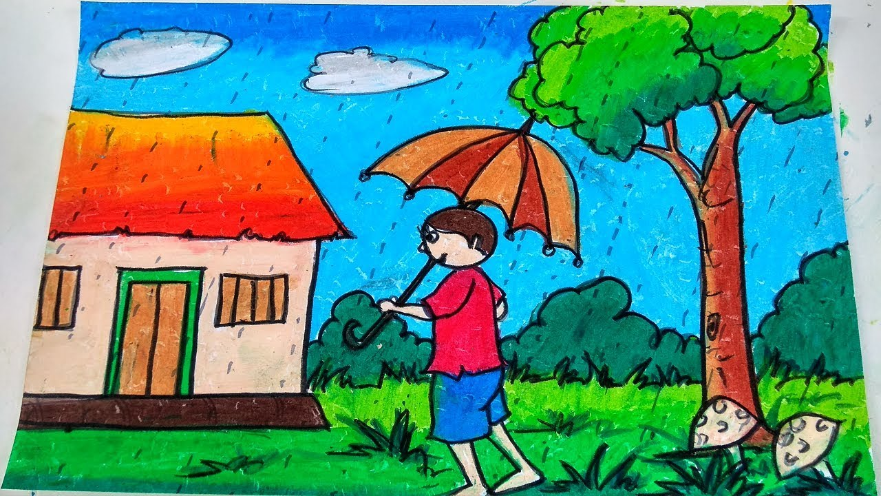 It is a graphic of Simplicity Raining Day Drawing
