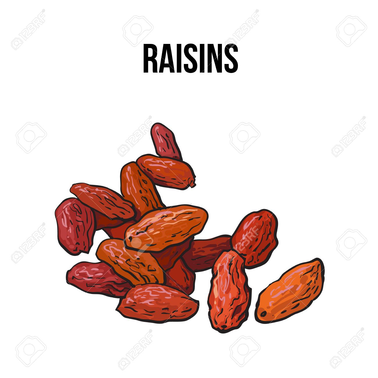 1300x1300 Pile Of Dried Raisins, Sketch Style Vector Illustration Isolated