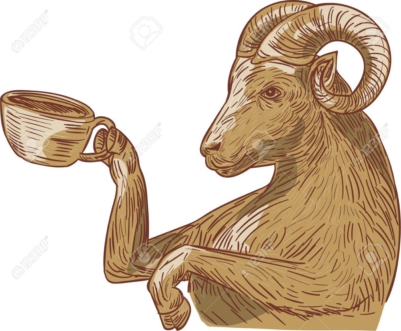 1300x1074 Drawing Sketch Style Illustration Of A Ram Goat Drinking Coffee