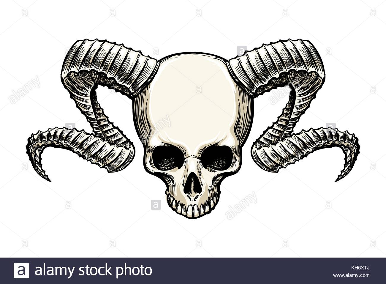 1300x956 Human Skull With Ram Horns Drawn In Sketh Tattoo Style Isolated
