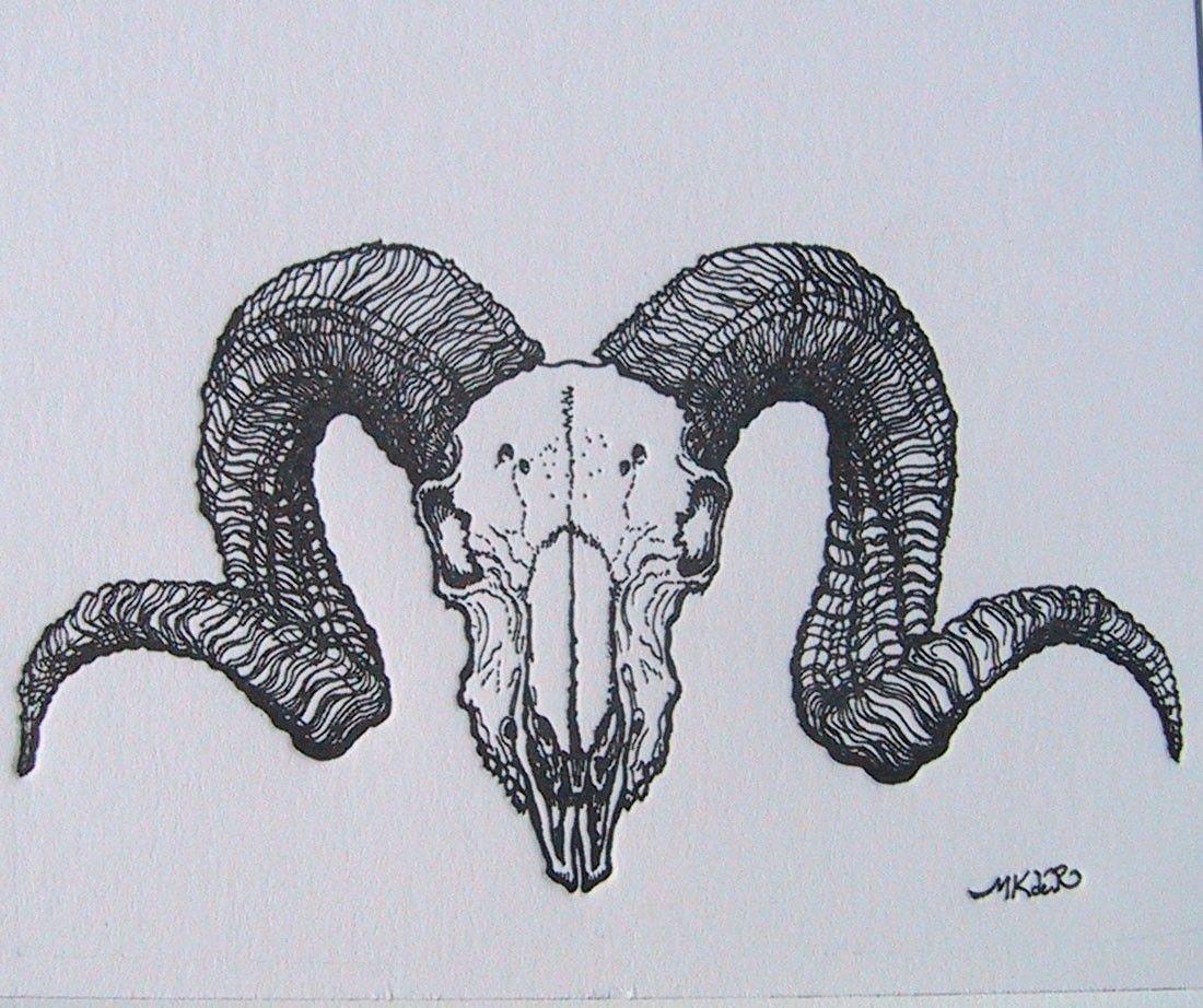 1100x922 Ram Skull Illustration Tattoo Back
