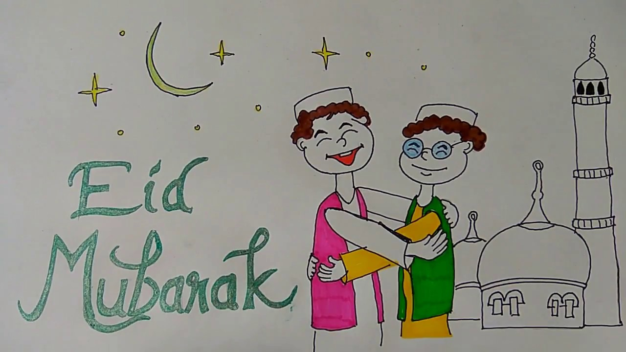 1280x720 Eid Mubarak Drawings For Kids, Eid Festival Drawing, Ramadan Eid
