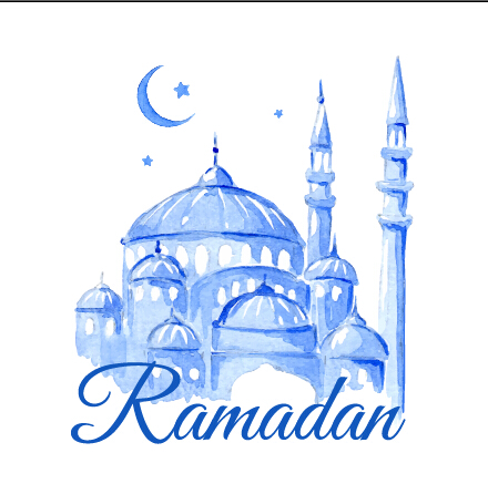 440x446 Watercolor Drawing Ramadan Kareem Vector Background 01