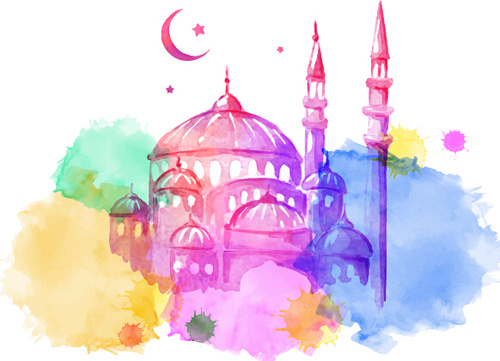 500x361 Watercolor Drawing Ramadan Kareem Vector Background Free Vector