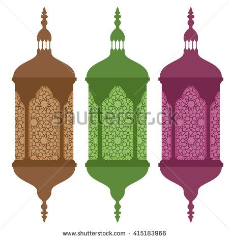 450x470 Colored Arabic Or Islamic Ramadan Lamps With Solid Flat Color