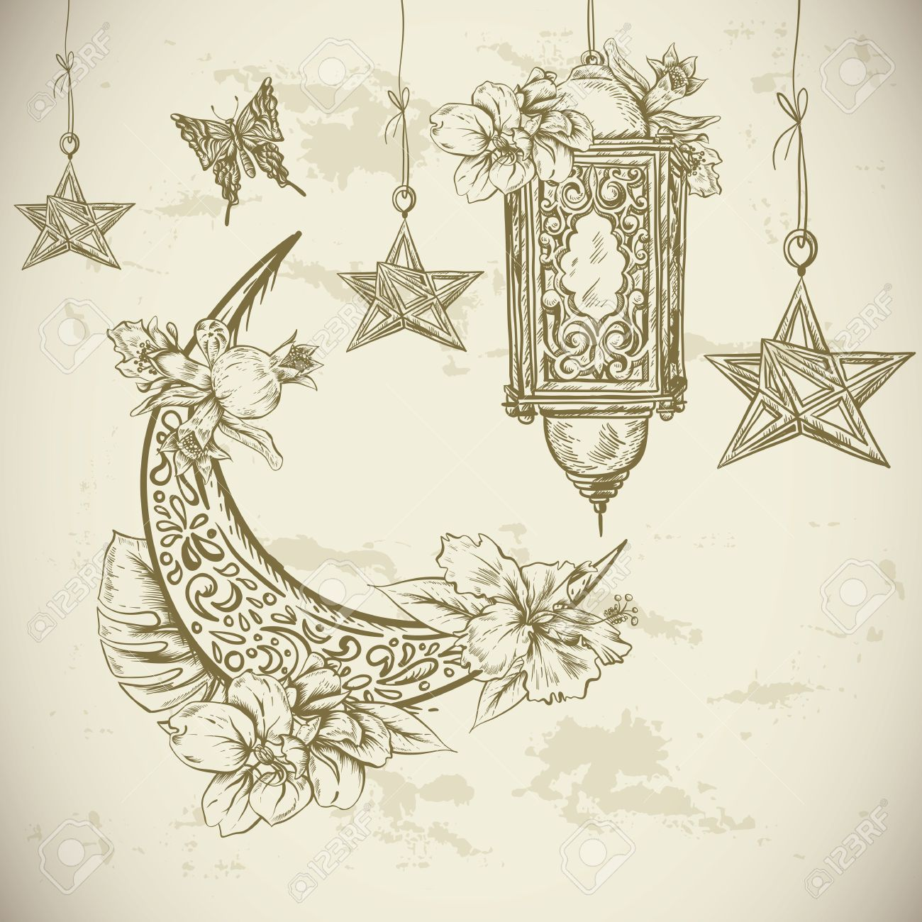 1300x1300 Traditional Greeting Card With Arabic Lantern And Flowers, Stars