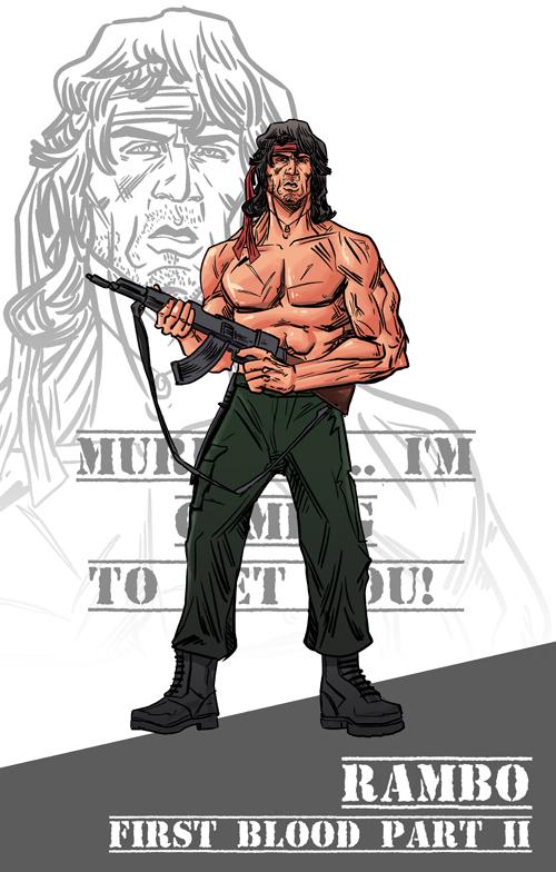 500x784 80 80s No. 13 Rambo By Willsliney