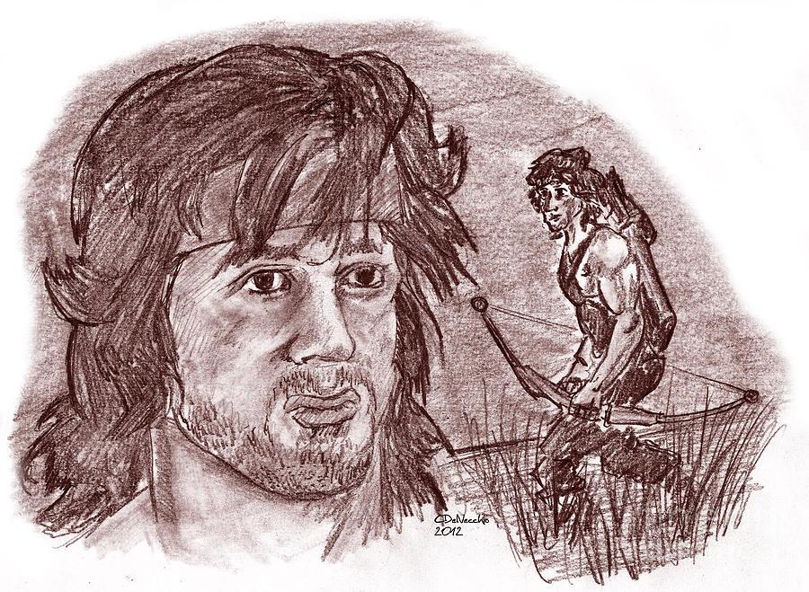 900x659 John Rambo Drawing By Chris Delvecchio