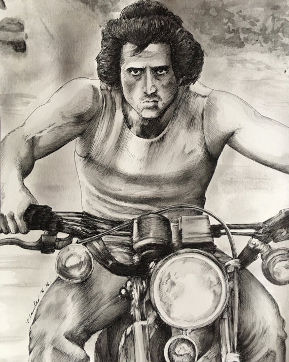 570x712 John Rambo Original Watercolour Painting Drawing. Sylvester