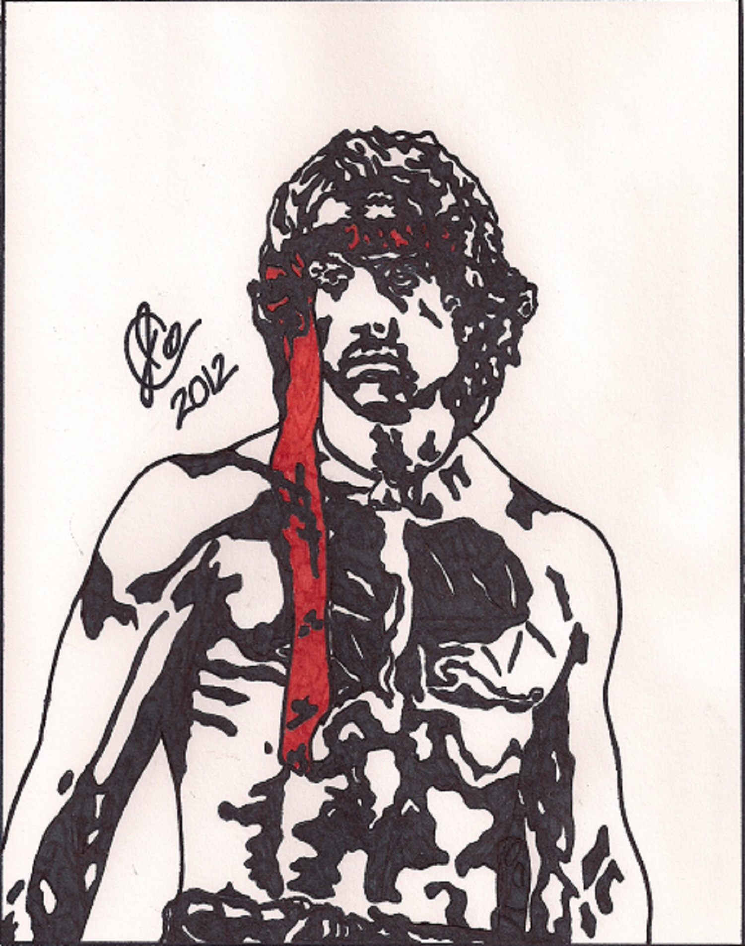 1501x1907 Rambo First Blood Part Ii Ink Illustration Jeremiah Colley