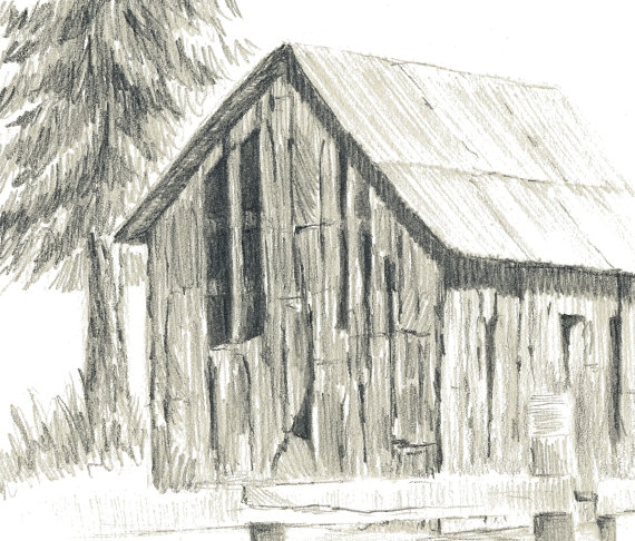 570x486 Aceo Print Old Ranch Barn Pencil Drawing By Rockplanet On Etsy