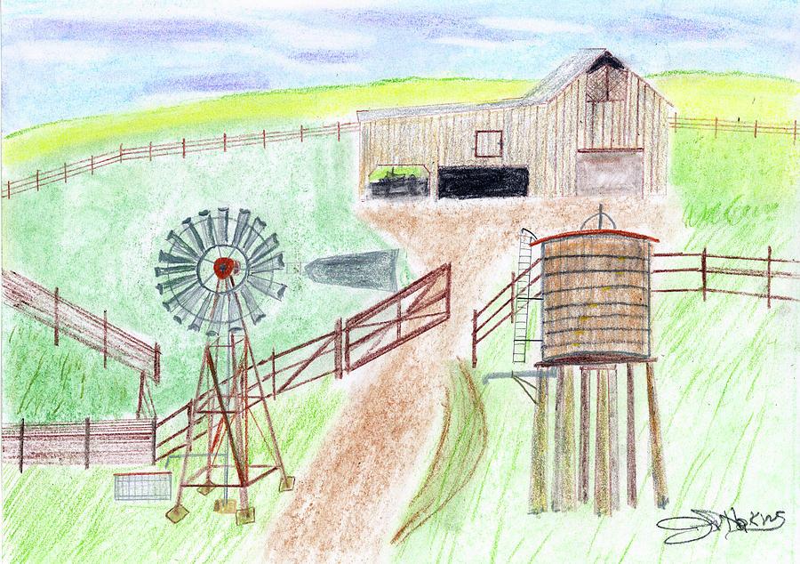 900x634 Ranch Windmill Drawing By John Hoppy Hopkins