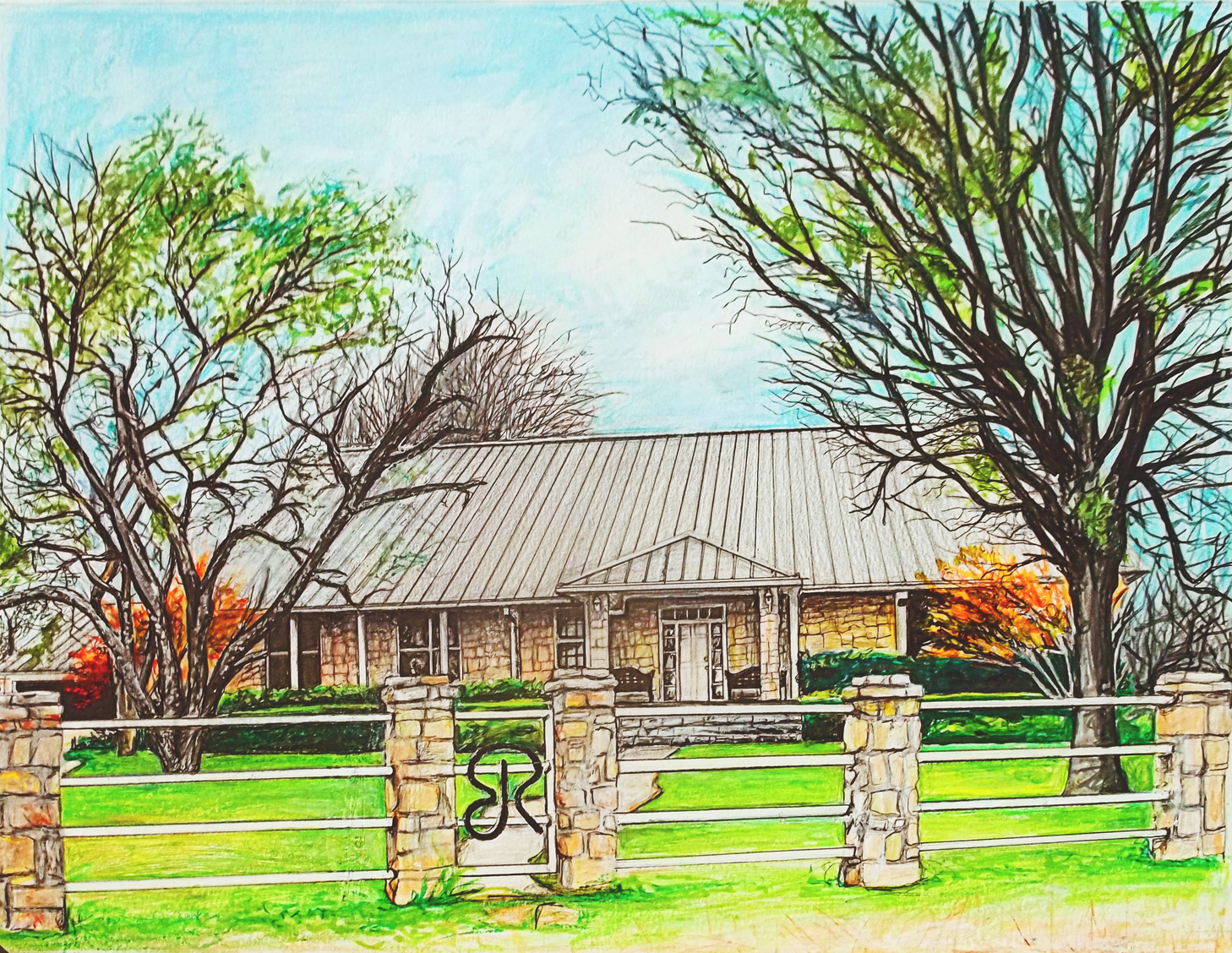 1458x1128 Texas Ranch Art By Mary Sheats